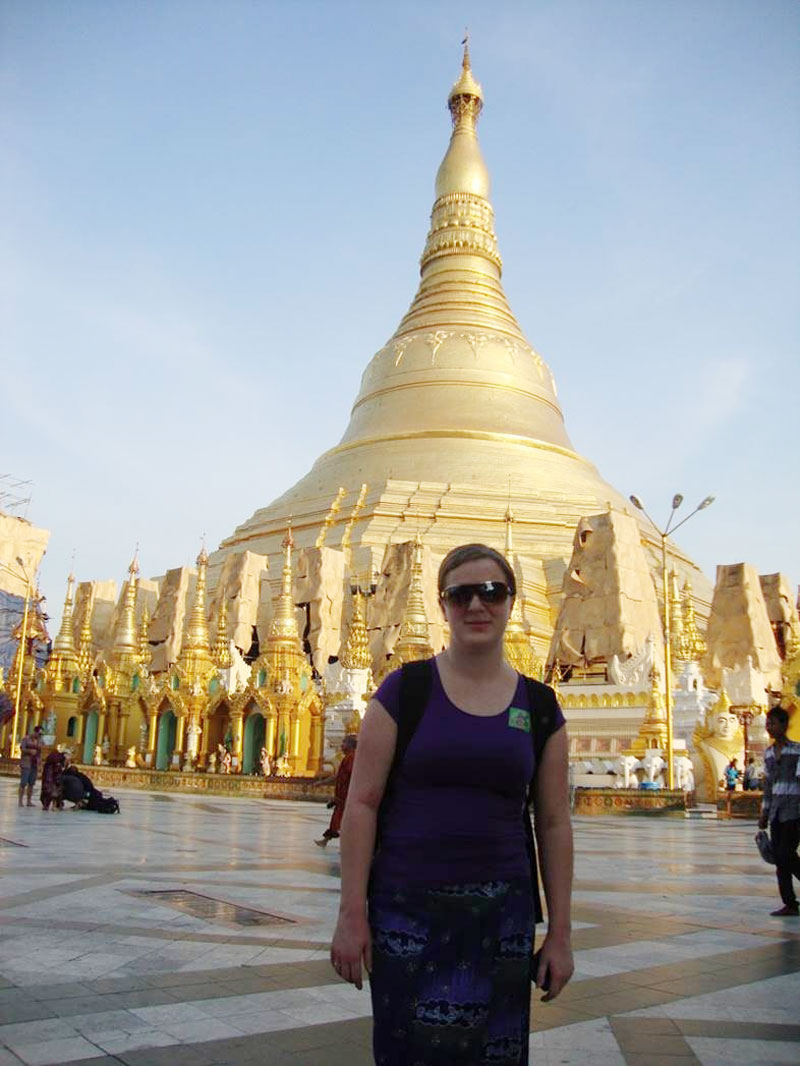 ShweDagonpagoda--Hallgerd-at-statue-in-Myanmar